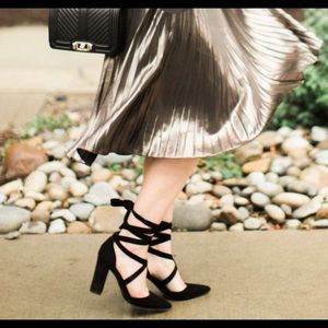 Steve Madden Ankle Wrap Suede Chunk Heels